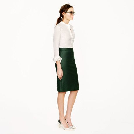 jcrew no 1 skirt | crew No 2 Pencil Skirt in Doubleserge Cotton in Green (academic ...