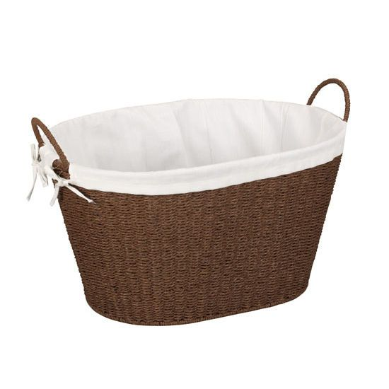 Household Essential Paper Rope Wicker Oval Laundry Basket Helps