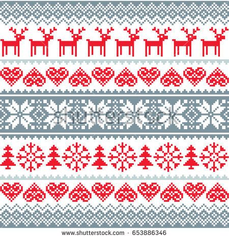 Christmas Seamless Pattern With Deer Owls Foxes And Birds In White And Red Scandinavian Style Scandinavian Folk Art Christmas Prints Scandinavian Pattern