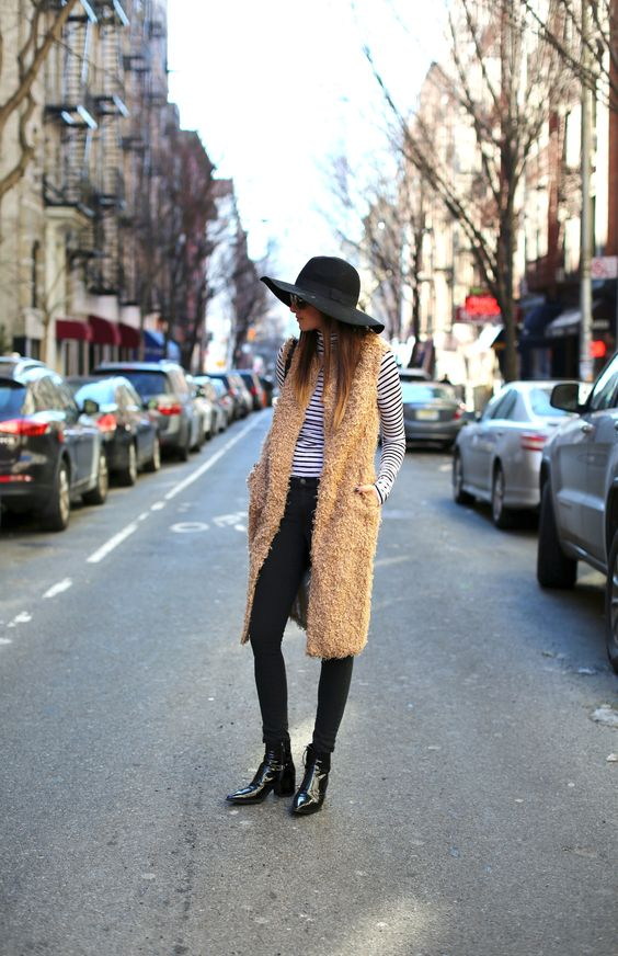 striping it with a long vest. Danielle in NYC. #weworewhat