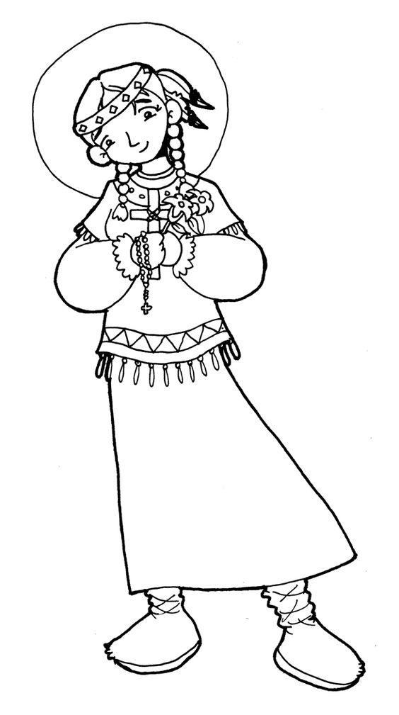 Dibujos para catequesis: SANTA KATERI TEKAKWITHA