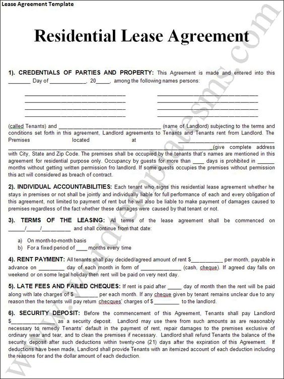 Rent Agreement Form  Printable Agreement    Real