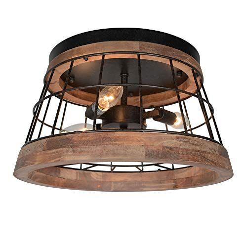 Baiwaiz Round Farmhouse Ceiling Lighting Fixture Metal And Wood Rustic Ceiling Flush Mount Lights Industr In 2020 Farmhouse Ceiling Light Ceiling Lights Rustic Ceiling