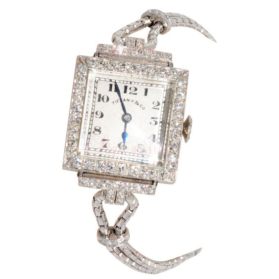 TIFFANY & CO. Art Deco Diamond Watch. This rare and antique watch from Tiffany and Co. features 66 brilliant diamonds set in platinum.