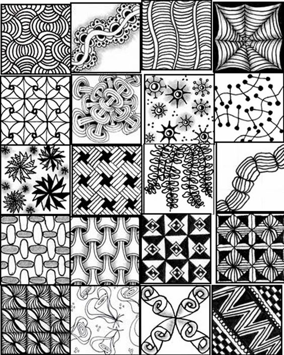 Zentangle patterns for beginners sheets bing images for Drawing patterns for beginners