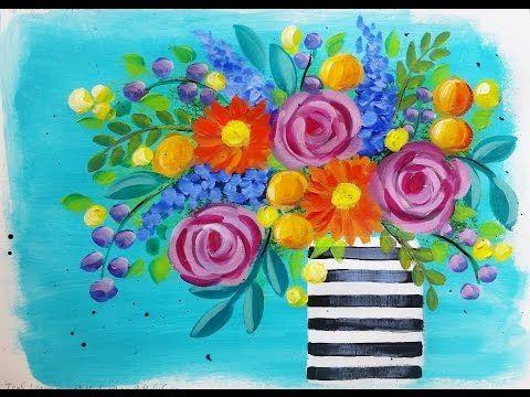 Facile Da Dipingere Margherite E Rose Boho Flower Vase Free Youtube Live Stream Video Fiori Faidate Blumen Kunst Wie Man Blumen Malt Kunstler Malerei