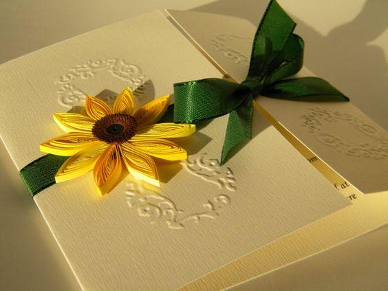 Sonnenblumen und Smaragd Hochzeitseinladung / von ancamilchis