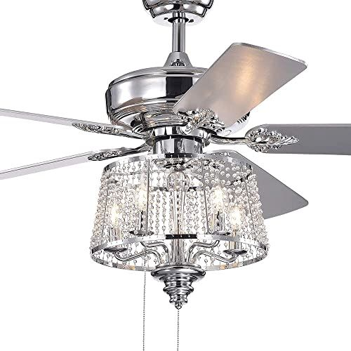 New Wolland 52 Inch Modern Led Crystal Ceiling Fan Light Fixture 5