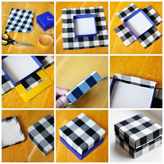 Manualidades and tela on pinterest - Como forrar una caja con tela ...