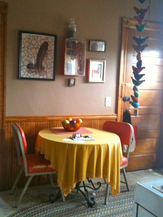 My Kitchen.  Lots of bright colors, dildo's and vintage cook books.  #dildo's #vintage #orange #yellow #retro