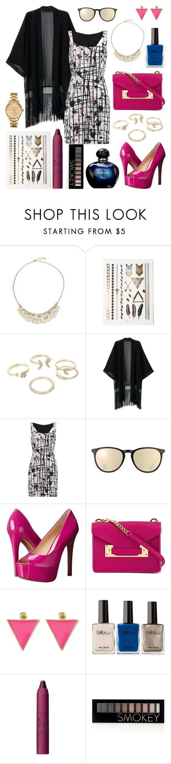 """""""Untitled #266"""" by angelicaaans ❤ liked on Polyvore featuring Christian Dior, Lipsy, Milly, Ray-Ban, Jessica Simpson, Sophie Hulme, tarte, Forever 21 and Lacoste"""