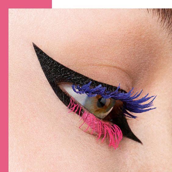 Flawless neon eye 💙💖 by @peterphilipsmakeup!   #DIORSHOW PUMP'N'VOLUME 260 Blue Pump and 840 Pink Pump  DIORSHOW ON STAGE LINER 091 Matte Black and 851 Matte Pink  #diormakeup #diorshowbackstage
