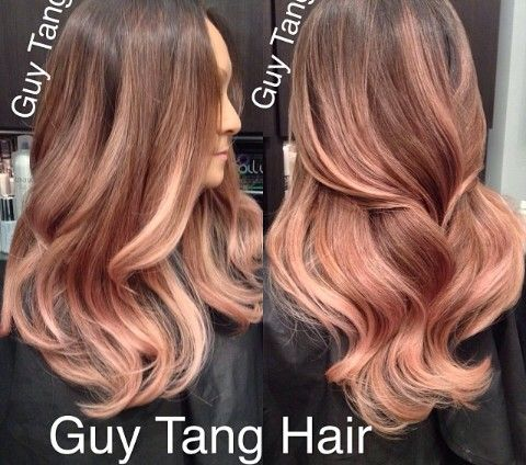 Coloration, Rose Cheveux Ombre Or, Rose Gold Balayage, Balayage Hair Colour, Rose Brune Cheveux DOr, Brunette Balayage, Blonde Ombre, Réflexion, Cheveux