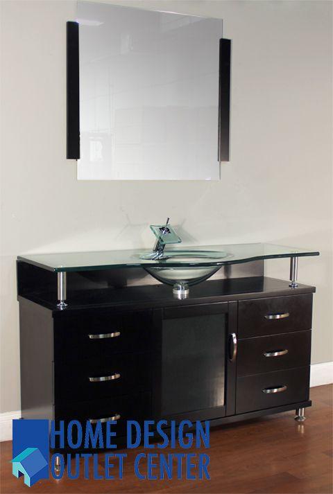 Bw 700 48 48 Single Modern Bathroom Vanity Set Clear Glass Home Design Outlet Center Banos