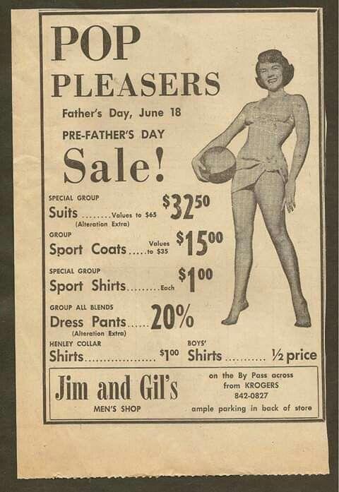 Vintage Ad Jim Gil S Men S Shop Bowling Green Ky 1967 3 99 Fathers Day Sale Boys Shirts Vintage Ads