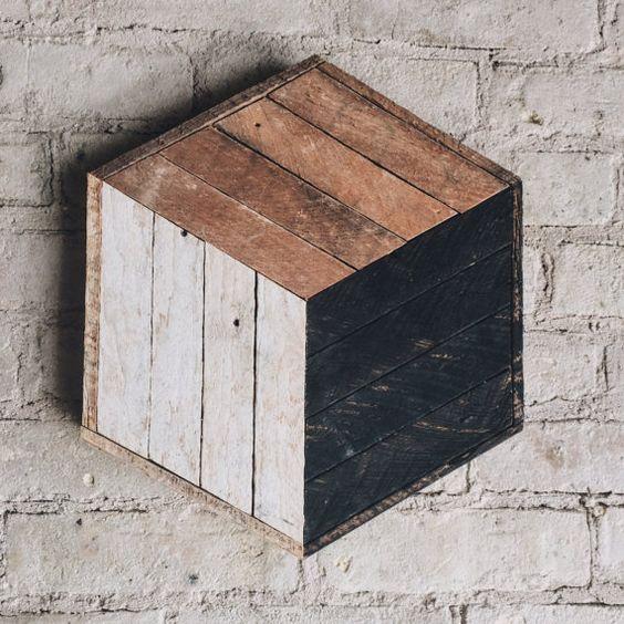 Reclaimed Wood Wall Art Decor Cube Lath 12 x by EleventyOneStudio