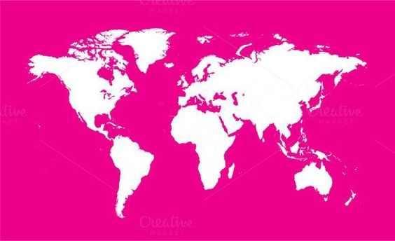 World map pink color