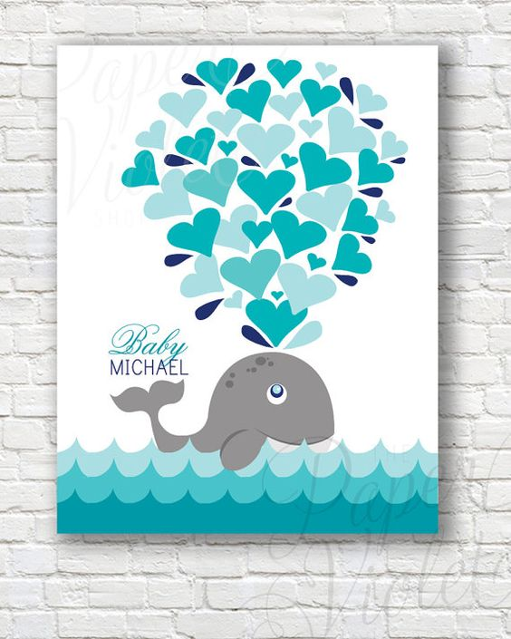 baby shower whale guestbook alternative great for a baby shower
