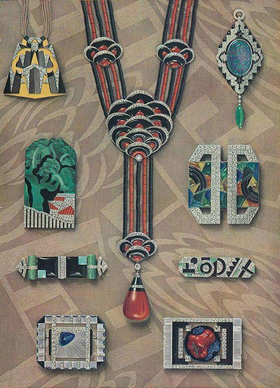 Art Deco Jewels 1927 Templier, Dusausoy, Vever, Roger Sandoz, Marchak, Robert Linzeler