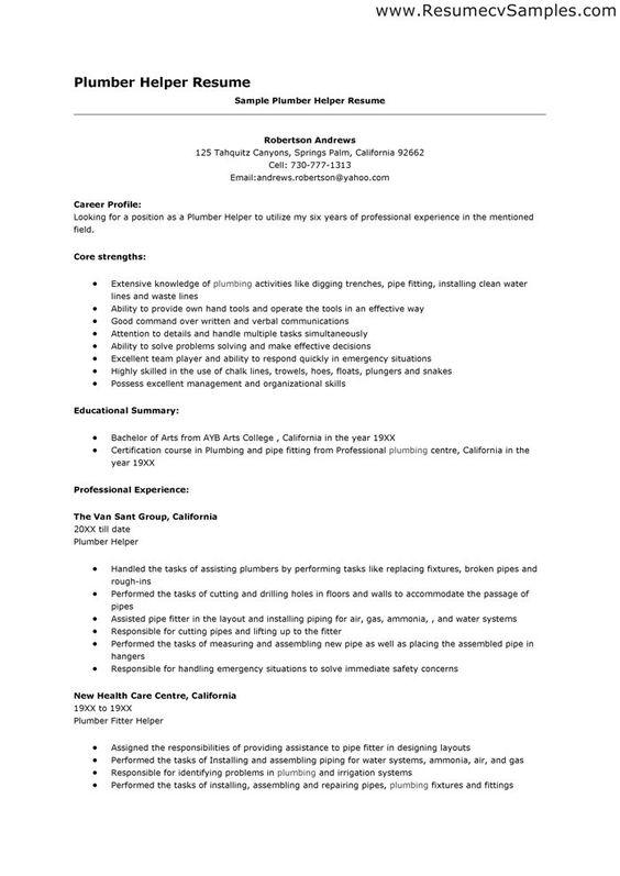 plumber helper resume