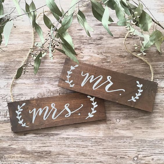 mr. & mrs. wedding chair back / wooden hanging signs.