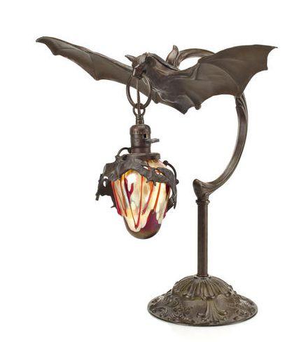 Art Nouveau Bat Lamp: