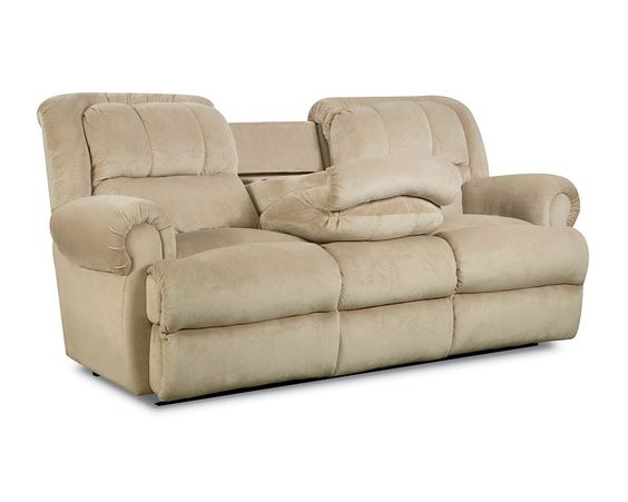 Evans Double Reclining Sofa With Fold Down Tray Table