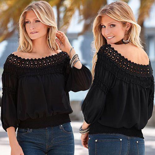 New-Women-Off-Shoulder-Casual-Lace-Crochet-Tops-Blouse-Fashion-Chiffon-T-Shirt