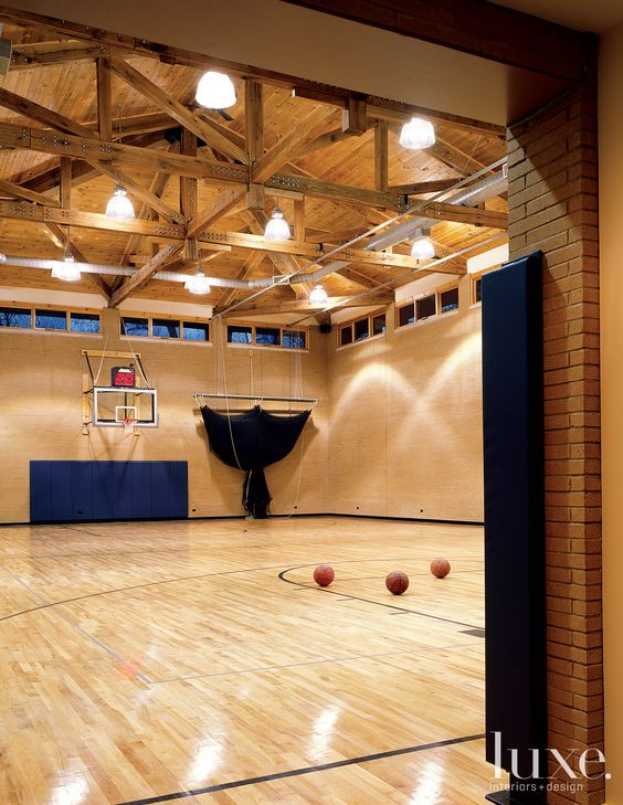 Indoor basketball court home misc interior room for Indoor basketball court construction