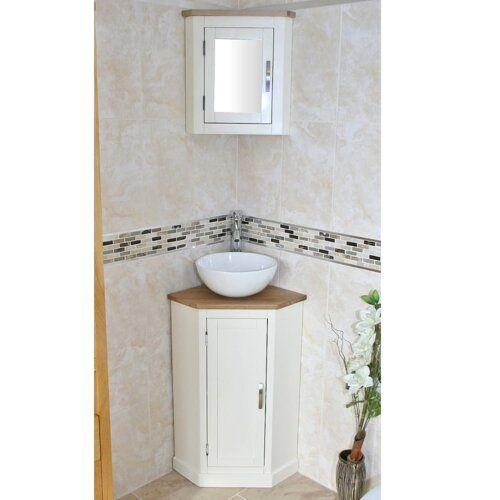 Belfry Bathroom Crandell Compact Solid Oak 390mm Free Standing Vanity Unit Washbasin Design Corner Bathroom Vanity Small Bathroom Decor