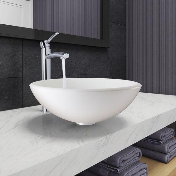 Vigo White Phoenix Stone Vessel Bathroom Sink and Milo Faucet Set in