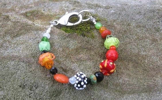Glass Lampwork Beaded Bracelet  Color Splash on Etsy, $45.00
