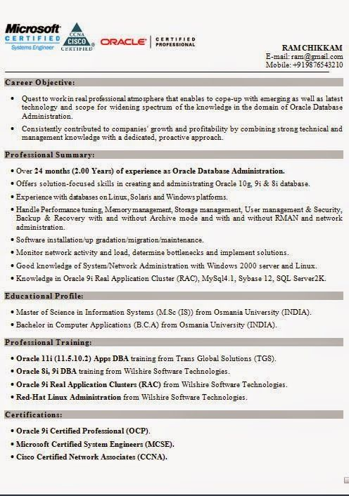 good cv template Download Free Excellent CV \/ Resume \/ Curriculum - oracle dba resume