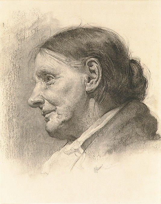 Oscar Fehrer (1872–1958) Character Study, ca. 1895, Charcoal on off-white laid paper, lined with Japanese paper, 14 7/8 x 11 3/4 in.: