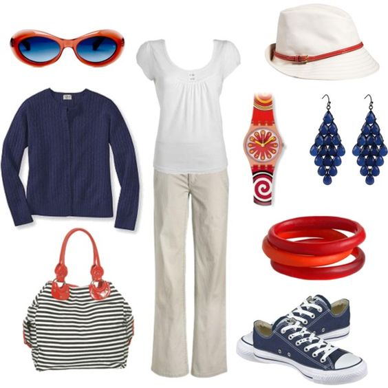 Red, White & Blue - Minus the Converse sneakers, this is totally an outfit I'd wear!