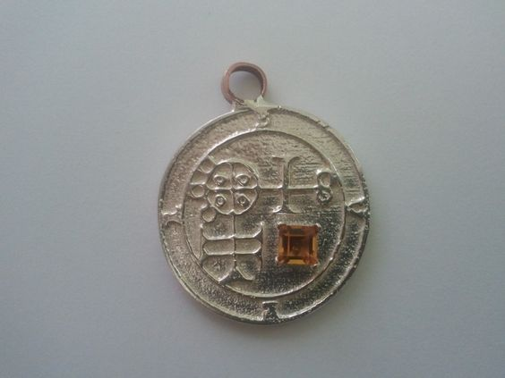 Sterling silver Buer pendant with a large 5mm square yellow topaz in a prong setting. From www.enochian.org