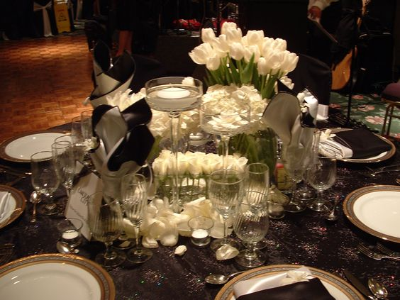 Centerpiece with White Tulips  by Tustinflorist.com