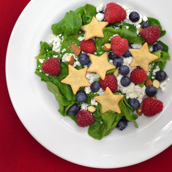 A Berry Patriotic Salad with Gluten Free Star Croutons - Perfect for Labor Day!