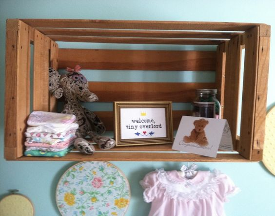 Use a crate instead of a shelf for #nursery #walldecor.