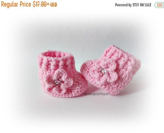 SWEET BABY Crochet baby boots Pink baby boots by ROSSIBOUTIQUE