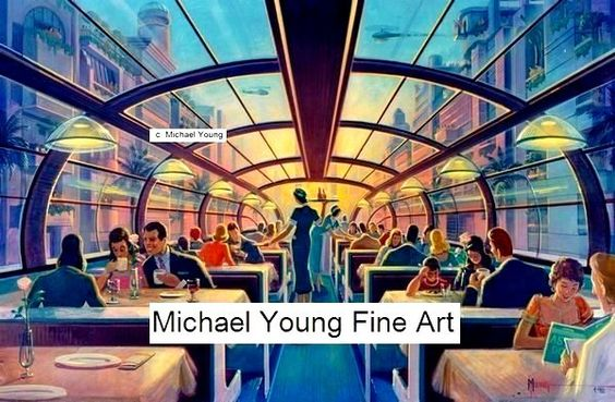 Skyway Tram Giclee Print Michael Young Art Deco Monorail Train Diner Table Car   eBay