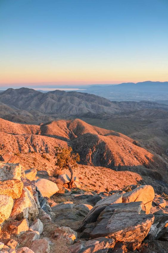 Sunset at Keys View in Joshua Tree National Park, California