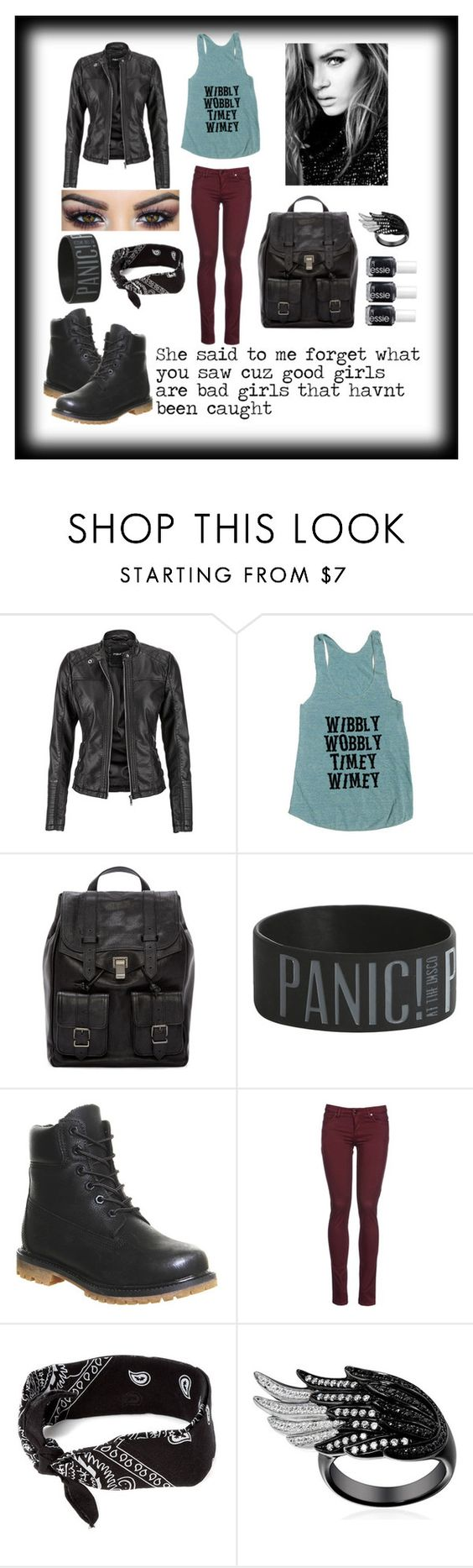 """""""good girls"""" by agnes-kathryn ❤ liked on Polyvore featuring maurices, Proenza Schouler, Timberland, 8, claire's and Essie"""