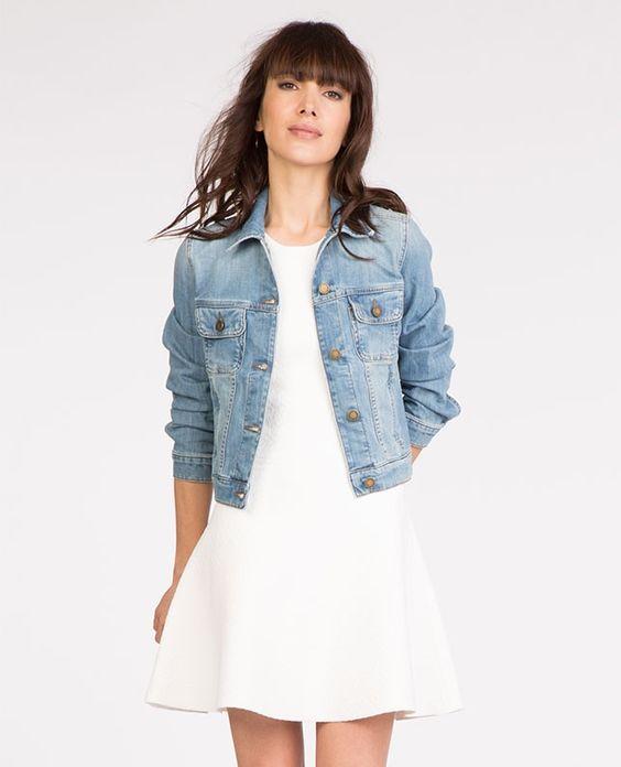 Comptoir des cotonniers veste en jean tutto look femme - Veste en cuir comptoir des cotonniers ...