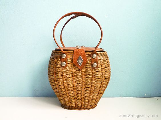 Vintage Woven Wicker & Rope Basket Bag 50s 60s Straw Purse: