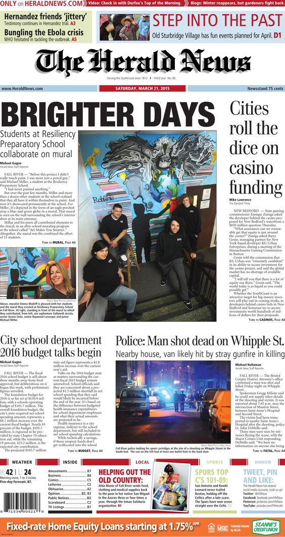 The front page of The Herald News for Saturday, March 21, 2015.