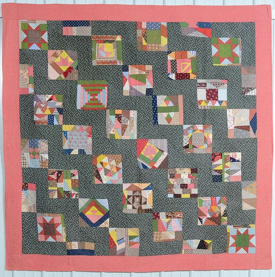 Quirky Sampler Quilt: Circa 1880; Pennsylvania