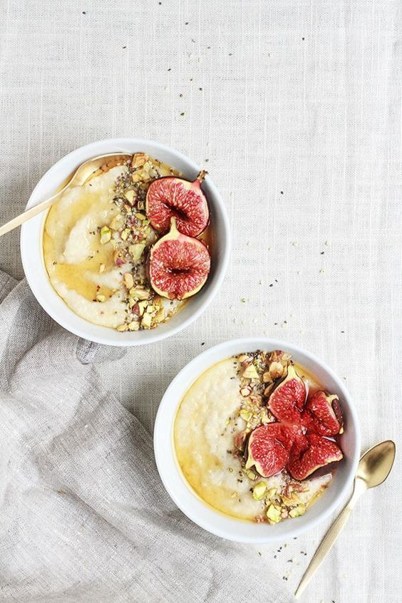 // Roasted Fig & Honey Millet Porridge.