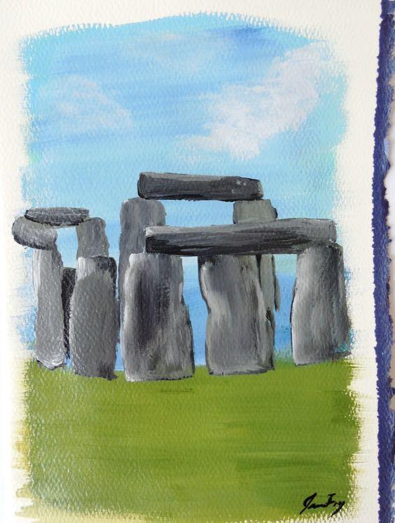 Stonehenge Original Painting Greeting Card by ConsciousArtStudios, $15.00