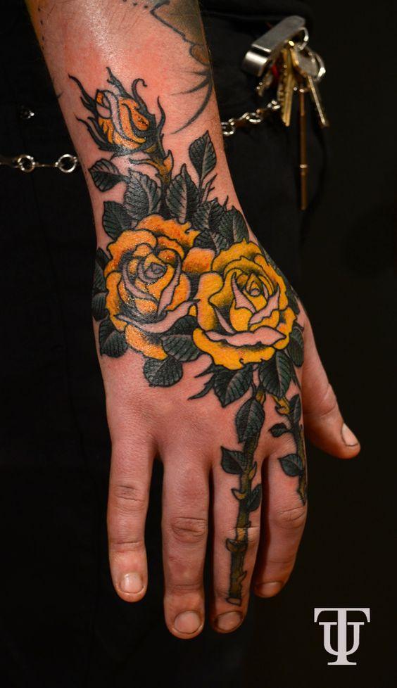 mucho más rosas amarillas neo tradicional amarillo rosas manga floral ...